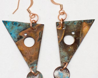 Copper Triangle Dangle Earrings - 100% hand carved/shaped from Copper