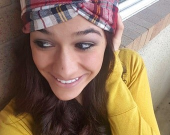 Cranberry Flannel Turban Twist Headband
