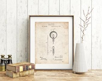 Thomas Edison Light Bulb Poster, Industrial Decor, Thomas Edison Light Bulb Print, Thomas Edison Light Bulb Art PP0133