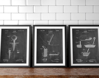 Golf Patent Posters Group of 3, Golf Clubs, Golf Prints, Golf Gifts for Men, Golf Tee, PP1161