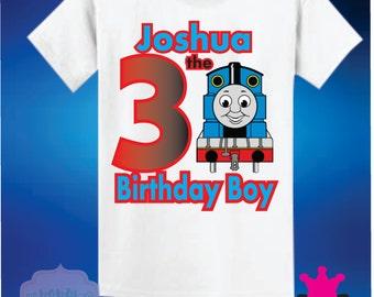 Thomas the Train birthday boy Shirt Raglan Red blue Tracks Name age Family Theme Long Sleeve Short Sleeve Tshirt
