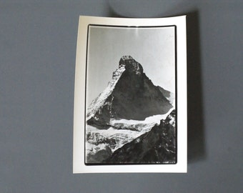 Vintage Matterhorn Photo, 1950s or 1960s Photograph of the Matterhorn, Zermatt, Switzerland, Photo Swiss Alps, Alpine Lodge, Man Cave