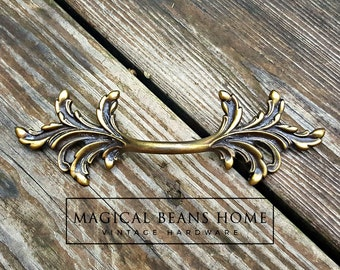 French Provincial Dresser Pulls French Country Furniture Pulls Antiqued Brass Drawer Pulls Leafy Decorative Dresser Drawer Pulls Handles