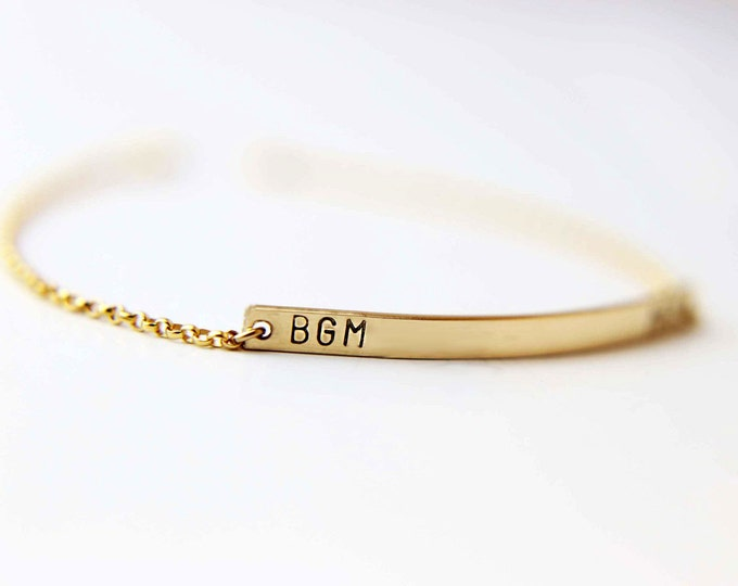 Skinny name bar bracelet - Gold filled personalized name plate bracelet   EB026