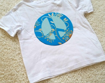 Peace sign Children's Toddler Tshirt. Sizes 2T, 3t, 4t, 5/6T