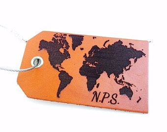 Monogrammed Leather Luggage Tag, Personalized Travel Tag, World Map, Bag Tag, ID tags, Instrument Tag, If Found Please Return To