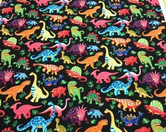 Patchwork Quilting Fabric Nutex Dinosaur Dance Black