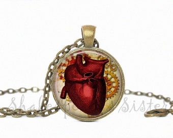 Anatomical Heart Necklace - Anatomical Heart Jewelry - Anatomical Art - Steampunk Jewelry - Art Pendant - Heart Pendant - Heart Jewelry