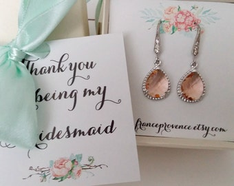 Bridesmaid jewelry set of 4 peach champagne earrings Bridesmaid jewelry Bridesmaid Gift Peach Champagne Silver Earrings