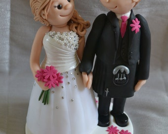Handmade Polymer Clay Wedding Cake Toppers