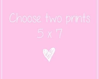 TWO 5x7 art print, Fashion illustration, Fashion art set, Art print set, Set of 2, Fashion prints, Fashion art illustration, Art prints