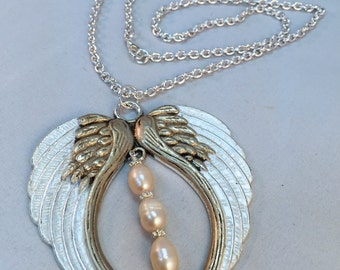 White Angel Wings Pendant with Three Pearls| Wedding Angel and Freshwater Pearl Necklace| White Angel Wings With Pearls|