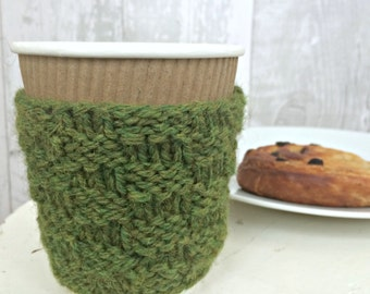 Knit Cup Warmer, Coffee Lovers Gift, Tea Lover Reusable Cup Sleeve, Gift for Mum, Women Gift Ideas, Knitted Gift for Coworker, Wife Gift