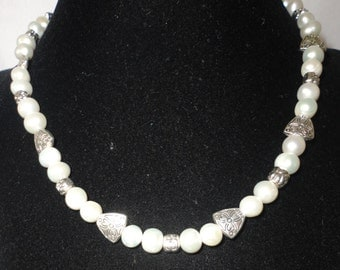 Flawless Fresh Water Pearl Filigree Spacer Necklace******.
