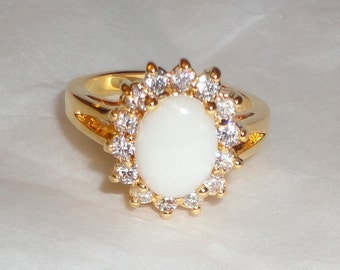 Stunning Gold Plated Round White Opal CZ Ring (z8)**********.