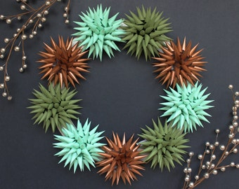 Wreath Modern Holiday Centerpiece | Mint, Copper, & Moss | Polish Jezyk Folk Art Spiky Christmas Star Hostess Gift, 15-inch