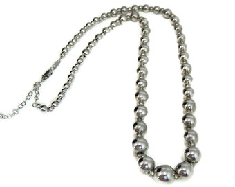 Classic Graduated Sterling Silver Beads Necklace Adjustable Length 17-19 inch