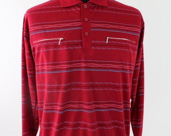 Vintage Polts Long Sleeved Red Patterned Polo Shirt Size L