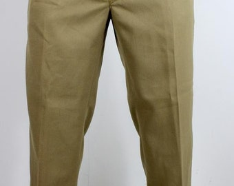 Mens Vintage Military Style Belted Trousers W34 x L30