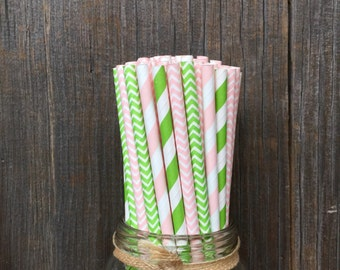 100 Lime and Pink Straws, Chevron and Striped Paper Drinking Straws, Birthday