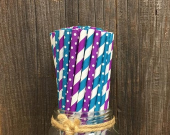 100 Teal and Purple Striped and Polka Dot Paper Straws- Birthday Supply  Little Mermaid Party- Peacock Theme- Cake Pop Sticks- Party Goods