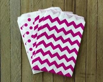 48 Fuchsia Favor Bag--Polka Dot Favor Bag--Candy Favor Bag--Chevron Goodie Bag--Chevron Party Sack--Birthday Treat Sacks