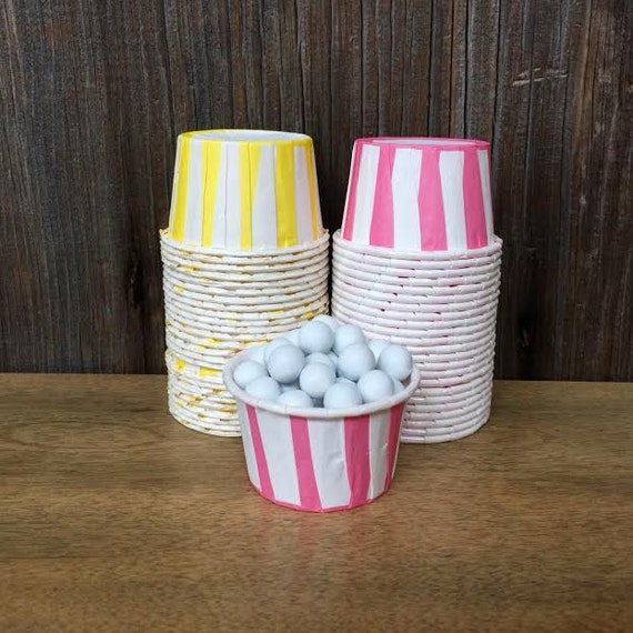 Mini Paper Candy Cup : Pink and yellow stripe paper candy cups by