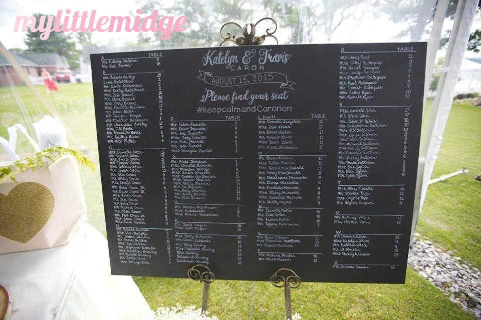EXTRA LARGE Hand Drawn Painted Wedding Seating Chart Sign