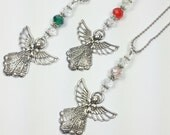 Angel Car Charm.  Birthstone Rear View Car Mirror Decoration with Guardian Angel.  Personalized with Birthstone.  Customizable.