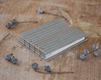 Hand Bound Wedding Guest Book / Mini Sketchbook / Autograph Book - A6 Landscape - Gold & Silver Striped / Stripes / Stripy