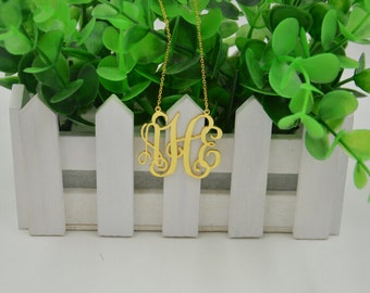"Monogram gold necklace,1""monogrammed necklace,sterling silver plated 18K gold,gift for bestfriend"
