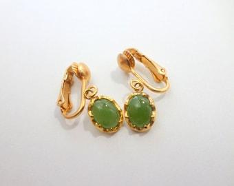 Jade Clip On Earrings Natural Genuine Jade Drop Earrings Vintage Clip On Jade Earrings Jewelry