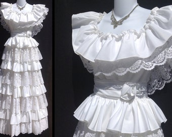 80s wedding dress etsy 80s wedding dress prom dress size 5 union made ilgwu junglespirit Image collections