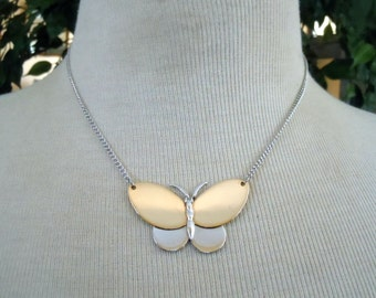 """Vintage Avon Butterfly Gold & Silver Tone Chain Necklace w/ Hang Tag Marked Avon Adjustable 14-16"""""""