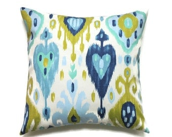 Blue Ikat Pillow, 16x16 Pillow Cover, Blue Green Ikat Decorative Pillows, Cushion Cover, Sofa Pillow, Ikat Throw Modern Pillow, Dashka Azure