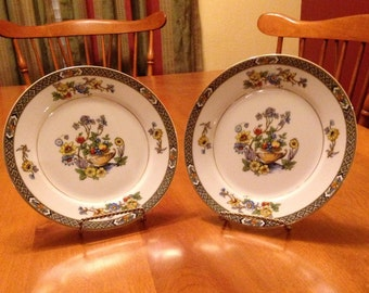 """Pair of Noritake Bread and Butter/Salad Plates """"Paisley"""" Design"""