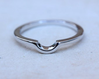 Curved wedding ring band - Available in Sterling Silver and White Gold Filled - Handmade