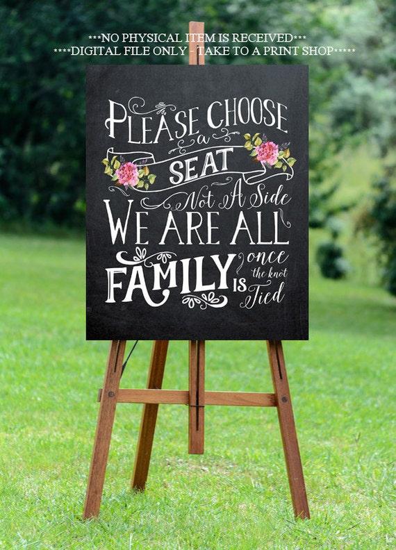 Chalkboard wedding sign printable wedding sign pick a seat for Wedding signs printable