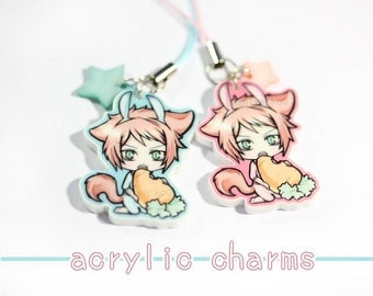 "Kawaii Catboy CHARM, 1.5"" Acrylic Charm, Cute Manga Bunny Phone Strap, Original Chibi Illustration, Pastel Colored, Anime Boys Key Chain"