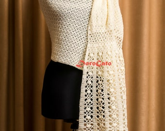 Wedding Shawl, Cream crochet shawl, Bridal Shawl, crochet throw, wraps shawls, Lace scarf, crochet stole, handmade scarf, Bridal Cover up