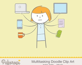 Multitasking Doodle Clipart