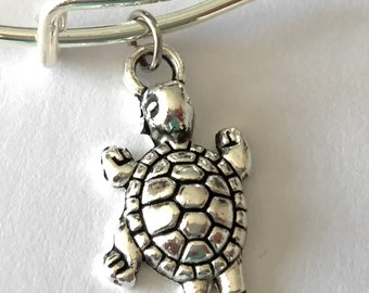 Antiqued Turtle Tina Charm & Silver Plated Bracelet for a Beach and Island Girl
