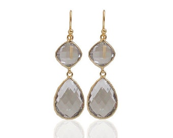 Valentine's Day SALE Crystal Earrings- 14K Yellow Gold Over Brass White Crystal Dangling Earrings
