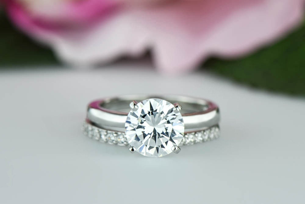 wedding and engagement ring set 2 ctw classic bridal set solitaire ring by 8383