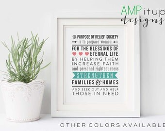 Purpose of Relief Society Printable - Relief Society Printable - LDS Printable - Instant Download - Mormon Download - Relief Society Purpose