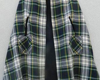 Vintage plaid reversible cape / poncho