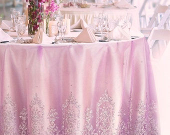 Pink Violet Tulle Table Cloth MADE TO ORDER. Silver Glitter Damask Mesh Table Skirt Overlay for Wedding Cake Sweetheart Table Bridal Shower