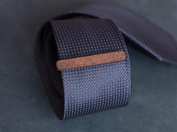 Walnut Wood Tie Clip. Slim 7.5 mm ties clip. Groomsmen Tie Clips. Monogrammed Tie Bar. Exotic Wood Tie Clip. Engraved Custom Tie Clip.