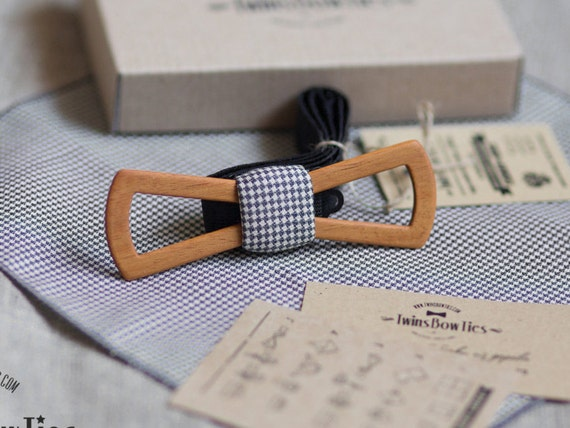 Wood bow tie Piter Fresh Slim + pocket square. Real wooden bowtie  and fabric. Men Accessories. 100% hand made.  Best personal gift.