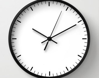 White wall clock classic design black white minimalist decor contemporary essential lines signs hours home decor housewarming graphic clock